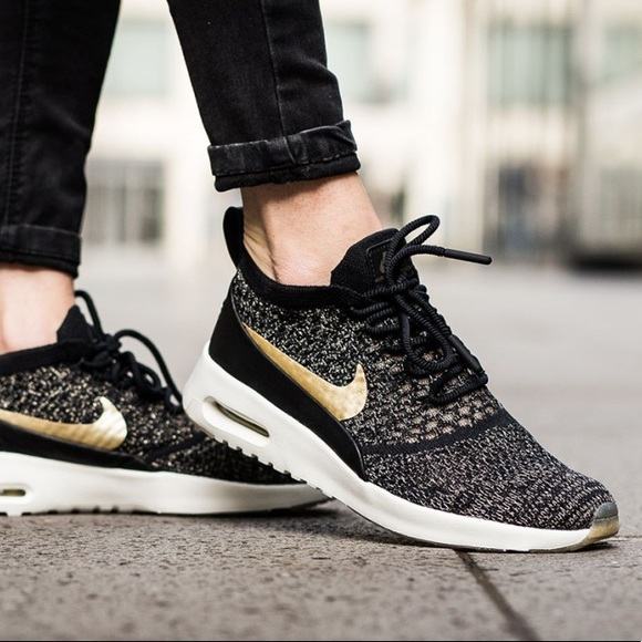 White Gold Metallic Nike Air Max Thea Womens Shoes